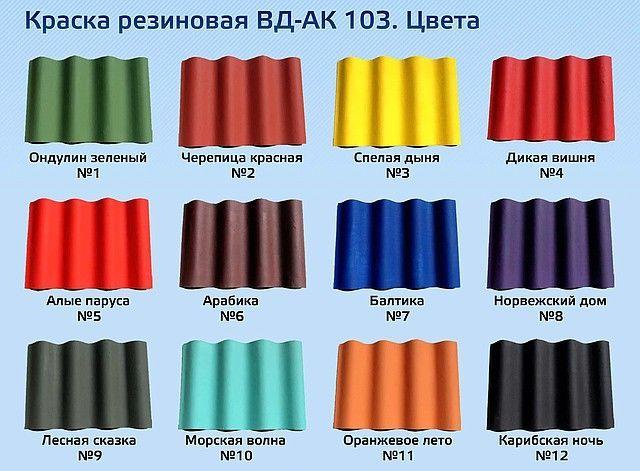 выбор цвета резиновой краски